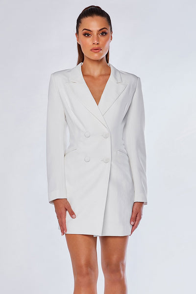 Heather Wide Collar Blazer Dress - White