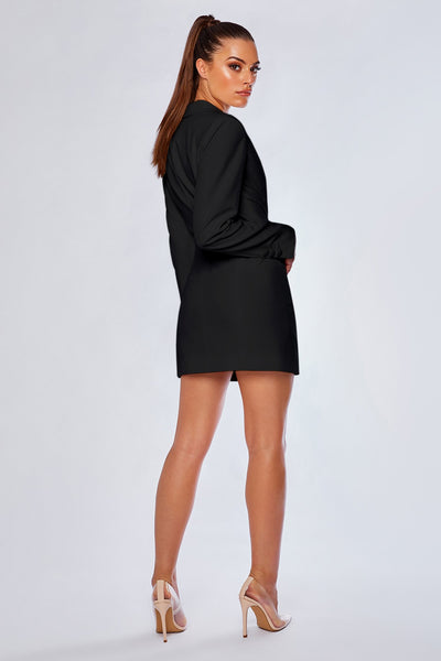 Heather Wide Collar Blazer Dress - Black - MESHKI
