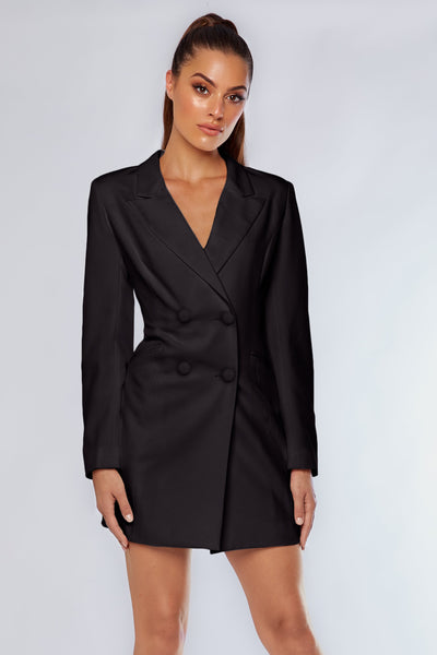 Heather Wide Collar Blazer Dress - Black