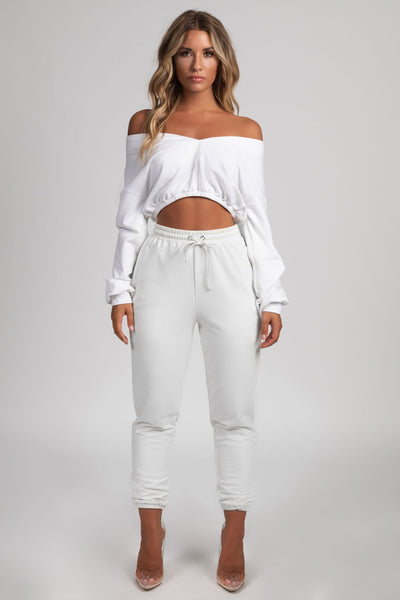 Brianna Wide V-Neck Cropped Jumper - White - MESHKI