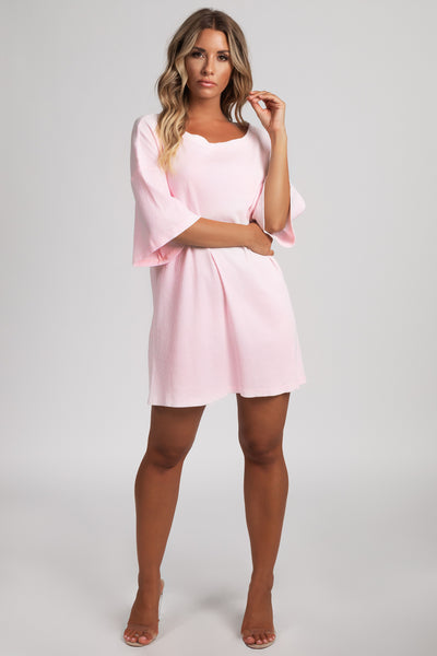 Kenisha Ribbed T - Shirt Dress - Baby Pink - MESHKI