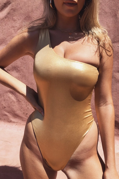 Kadie One Shoulder One Piece - Gold