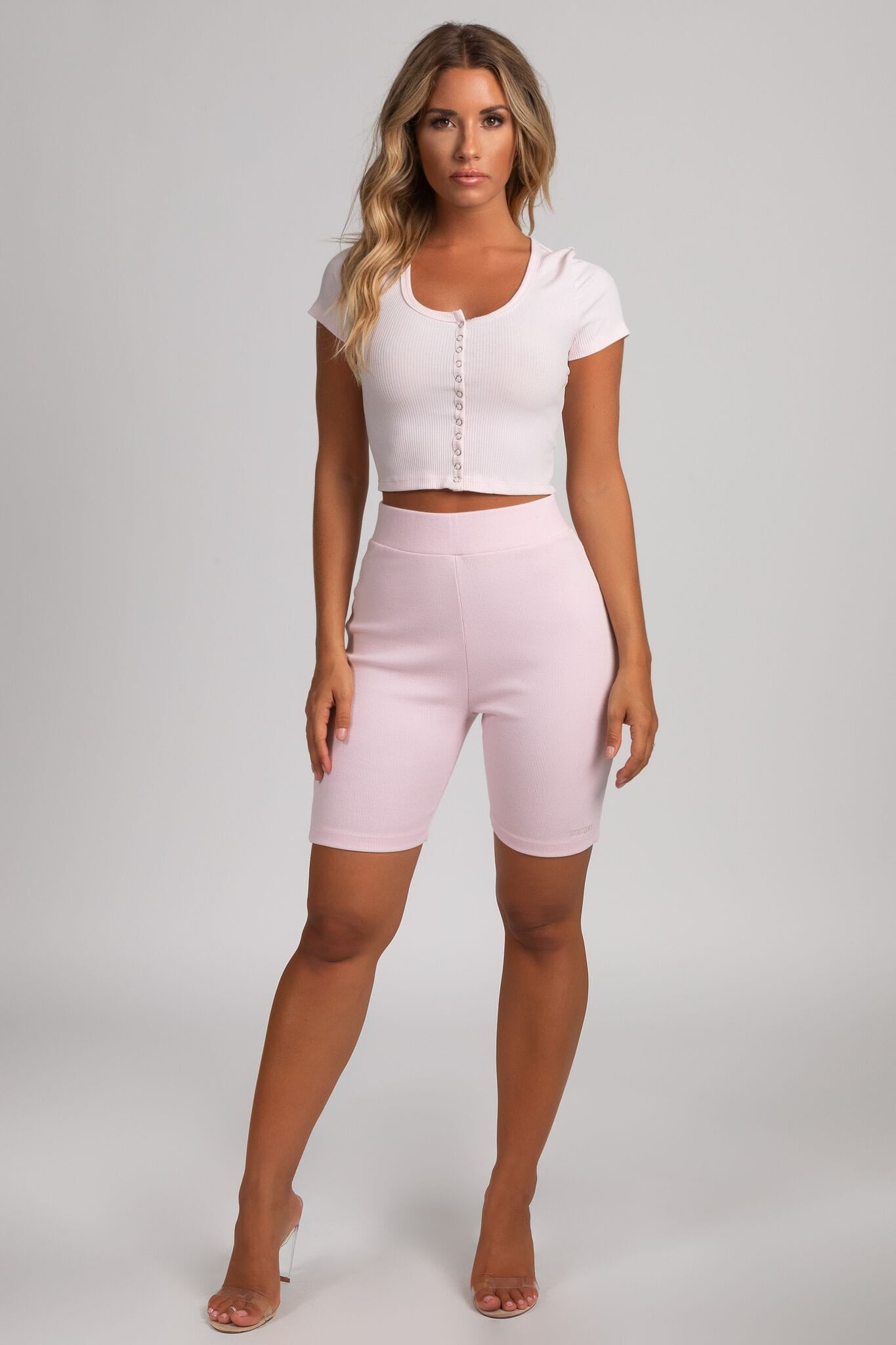 Basia Button Up Crop Top - Baby Pink - MESHKI
