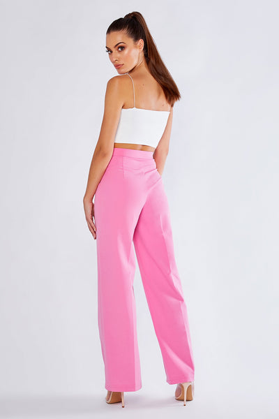 Jhene Wide Leg Suit Pants - Sugar Pink - MESHKI
