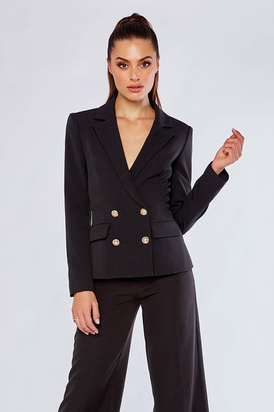 Romi Double Breasted Short Blazer - Black