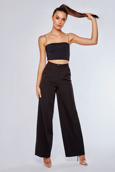 Jhene Wide Leg Suit Pants - Black - MESHKI