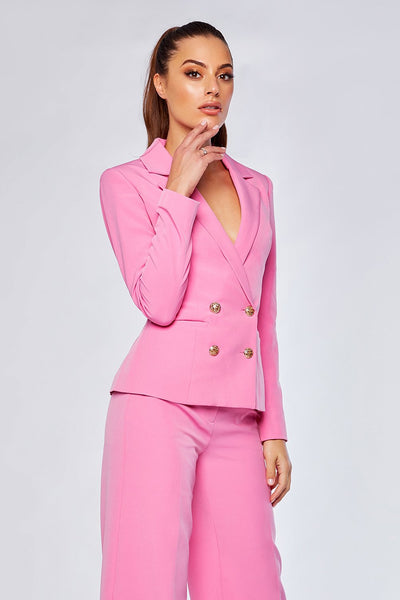 Romi Double Breasted Short Blazer - Sugar Pink