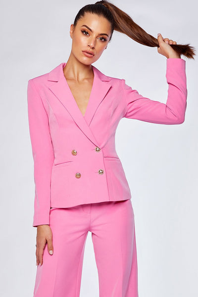 Romi Double Breasted Short Blazer - Sugar Pink - MESHKI