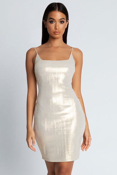 Kyla Metallic Midi Round Neck Dress- Gold - MESHKI
