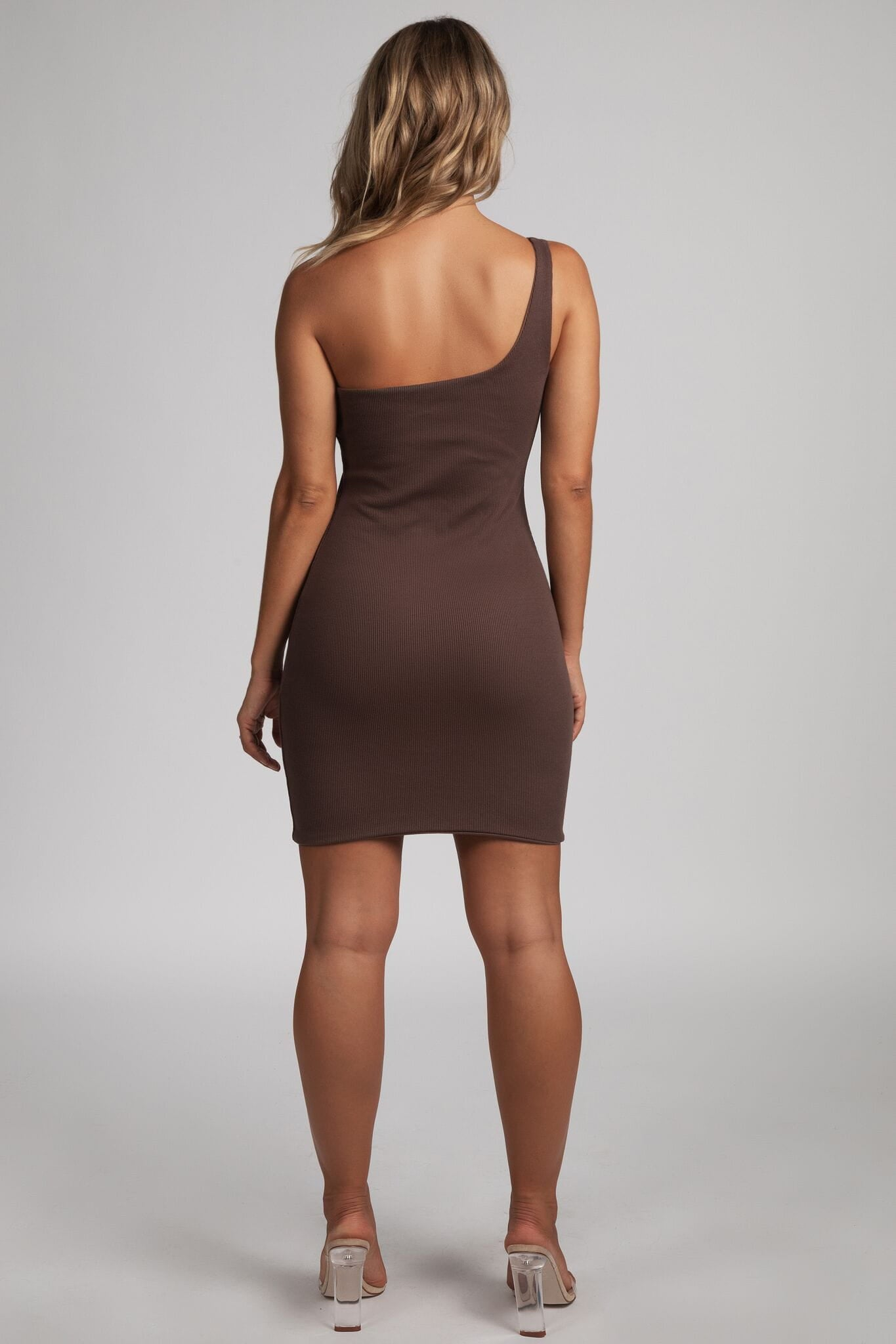 f799dfcdb1d9 Scarlett One-Shoulder Bodycon Rib Mini Dress - Chocolate - MESHKI
