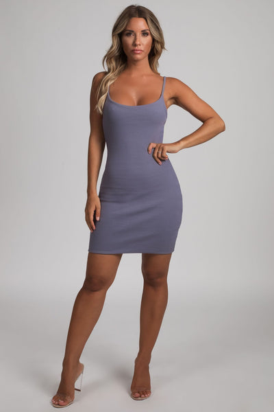 Leah Strappy Ribbed Bodycon Mini Dress - Grey - MESHKI