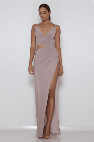 Lee Cut-Out Gown - Taupe