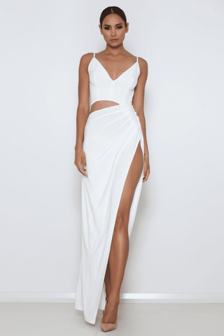 Lee Cut-Out Gown - Ivory - MESHKI