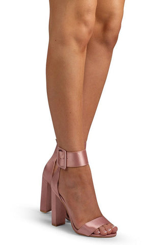 Rose Thick Buckle Heel - Nude Satin - MESHKI