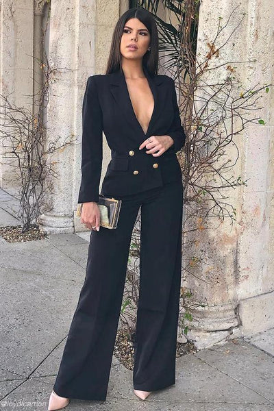 Jhene Wide Leg Suit Pants - Black