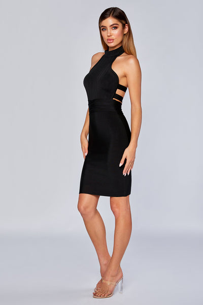 Lucia High Neck Bandage Dress  - Black - MESHKI