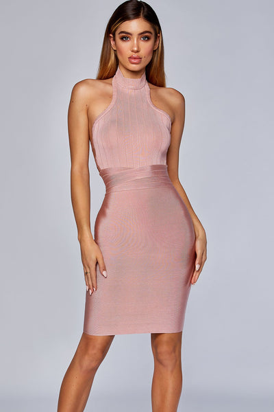 Lucia High Neck Bandage Dress  - Blush - MESHKI