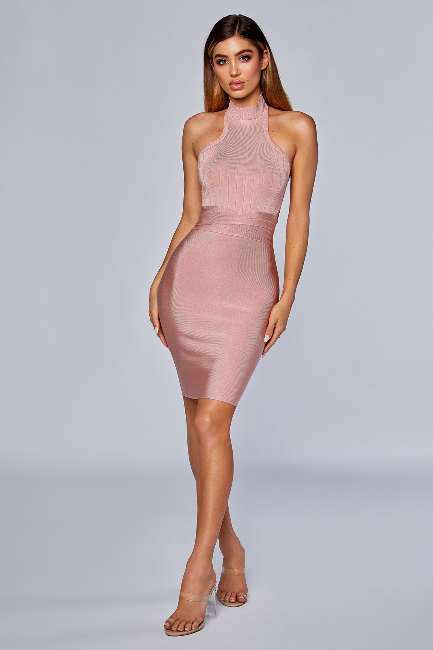 aa815ce819 Lucia High Neck Bandage Dress - Blush - MESHKI