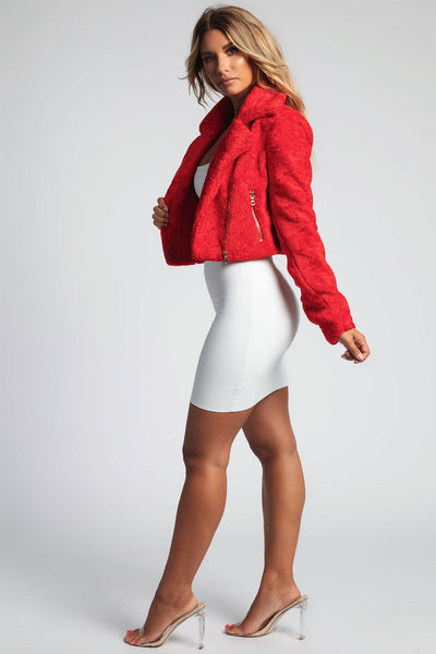 Lucia Cropped Curly Faux Fur Biker Jacket - Red - MESHKI