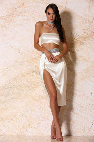 Candice Satin Diamante Midi Wrap Skirt - Ivory - MESHKI