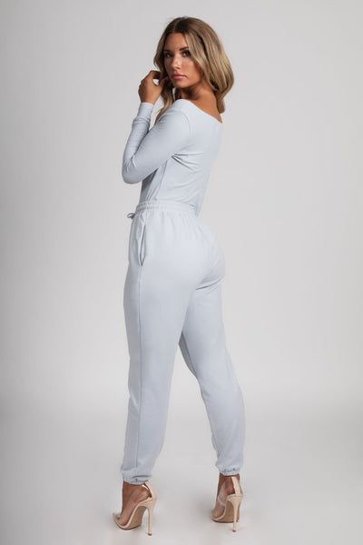 Malene V-Neck Ribbed Long Sleeve Bodysuit - Baby Blue - MESHKI