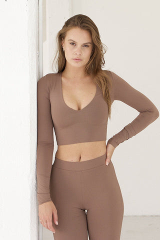 Maddox Long Sleeve Crop - Mocha