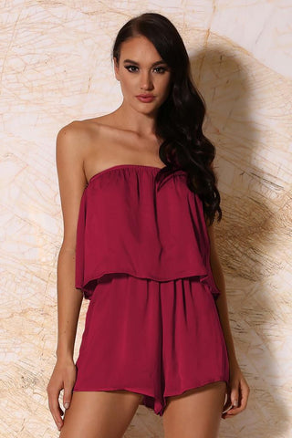 Melaina Strapless Playsuit - Burgundy