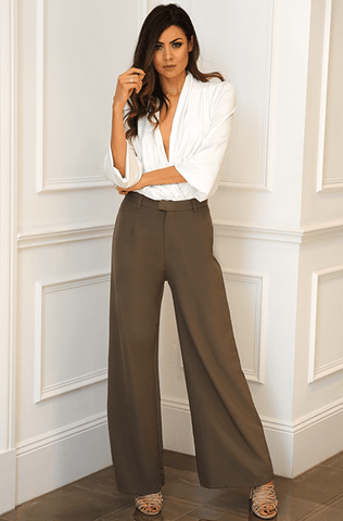 Amal Wide Leg Pants - Khaki