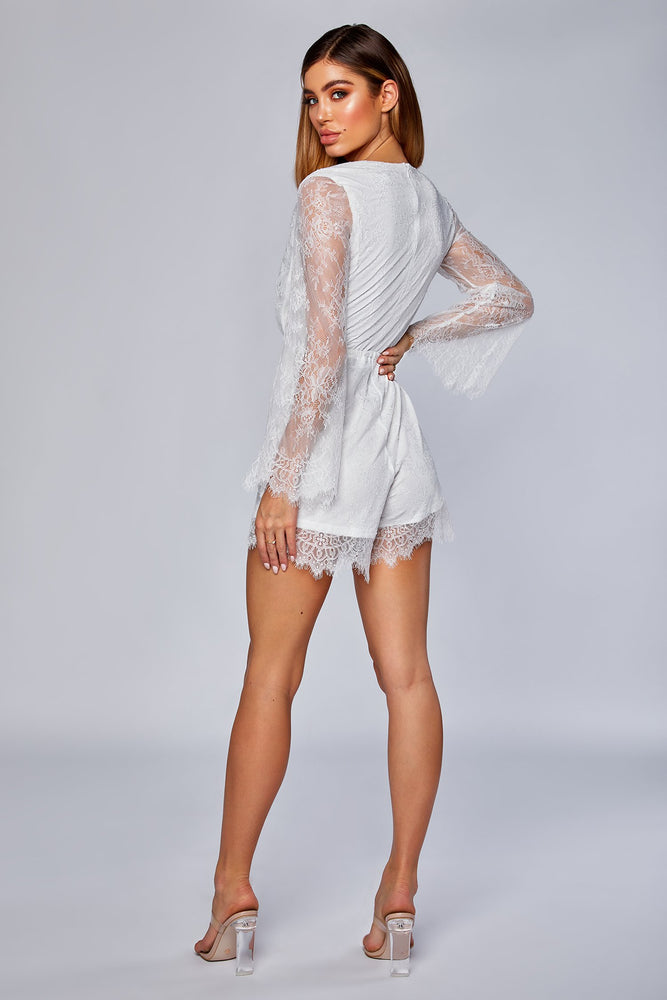 Mirabelle Long Sleeve Lace Playsuit - White - MESHKI