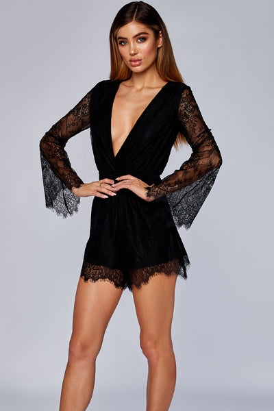 Mirabelle Long Sleeve Lace Playsuit - Black - MESHKI