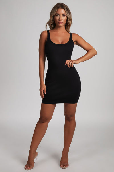 Danica Ribbed Body-con Mini Dress - Black - MESHKI