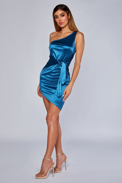 Nevra One shoulder satin tie dress - Teal - MESHKI