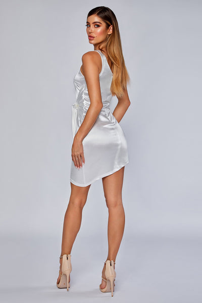 Nevra One shoulder satin tie dress - White - MESHKI
