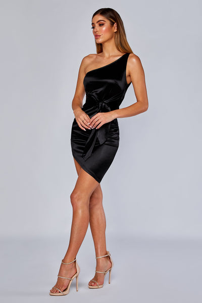 Nevra One shoulder satin tie dress - Black - MESHKI