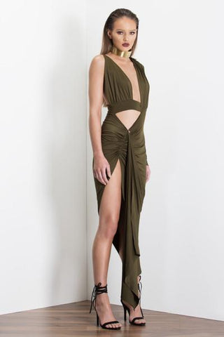 Two Way Milani Gown - Khaki - MESHKI
