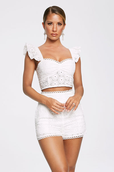 Chiara Broderie Sleeveless Crop Top - White - MESHKI