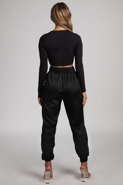 Alyssa V-neck Long Sleeve Crop - Black - MESHKI