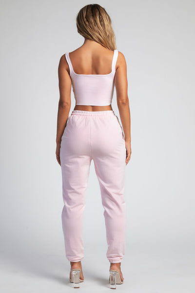 Jazmin Scoop Neck Crop Top - Baby Pink - MESHKI