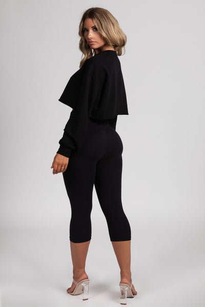 Heather Cropped Leggings - Black - MESHKI