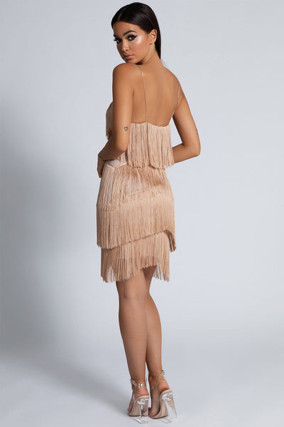 Paige Fringe Mini Dress - Nude - MESHKI
