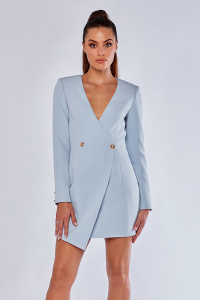 Pamela Collarless Double Button Blazer Dress - Sky Blue