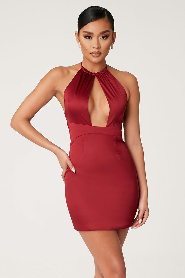 Peyton High Neck Key Hole Mini Dress - Burgundy