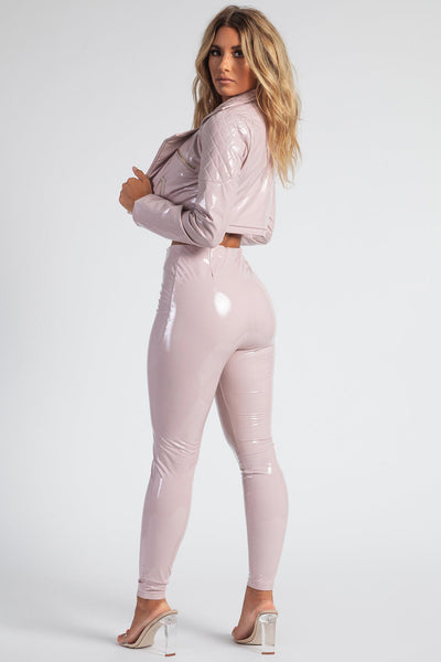 London Cropped Latex Jacket - Baby Pink - MESHKI