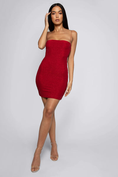 Mia Thin Strap Shimmer Dress - Shimmer Red - MESHKI