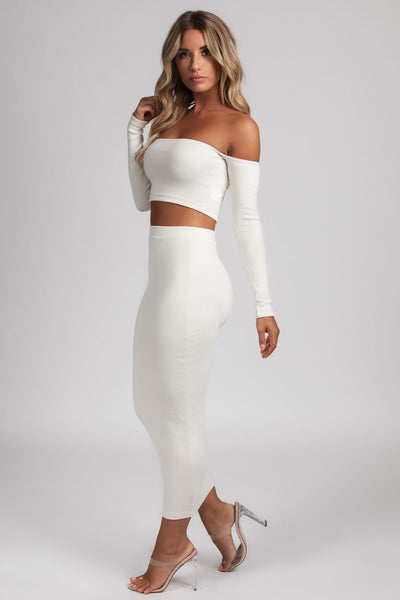 Beatrice Ribbed Bardot Crop Top - Cream - MESHKI