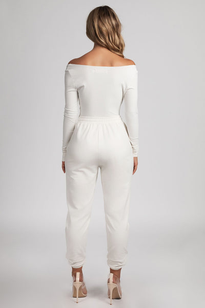 Malene V-Neck Ribbed Long Sleeve Bodysuit - Cream - MESHKI