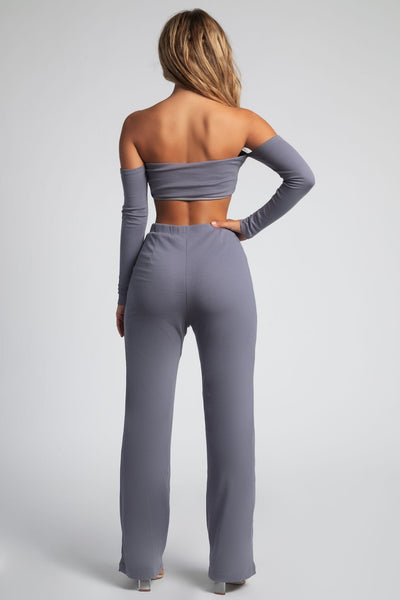 Laurel Ribbed Popper Front Bardot Top - Grey - MESHKI