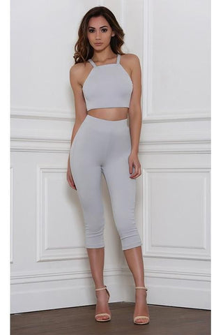 Rachel Cropped High Waisted Leggings - Dove
