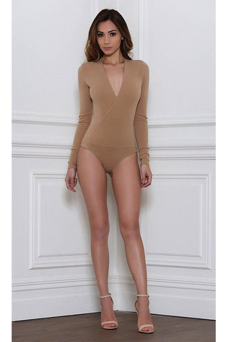Alba Long Sleep Wrap Bodysuit - Tan