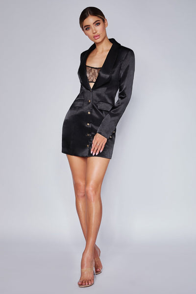 Reese Satin Blazer Mini Dress - Black - MESHKI
